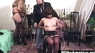 Bondage & Discipline For The Horny Wifey Practiced By The Hubby With Sexy Mistress