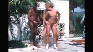 Retro Threesome By The Pool