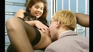 Ultra-cute German dark-haired in stockings gets fucked in both fuckholes