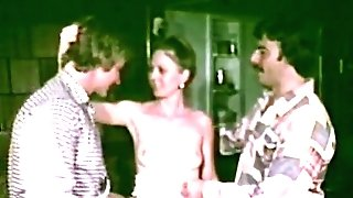 Hairy Waitress Hook-up Servicing two Guys (1970s Antique)