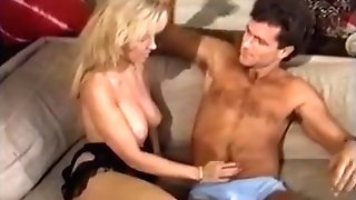 Chesty blonde on hard and fat stick